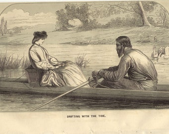 Antique Victorian Book Plate - Godeys Ladys Book 1866 - Drifting with the Tide to Frame or to use in Paper Arts, Collage  and MORE PSS 1786