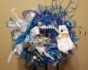 Blue/White Santa Wreath with silver accents
