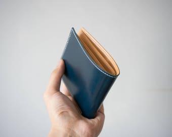 Cordovan Blue Bifold leather wallet, handmade wallet
