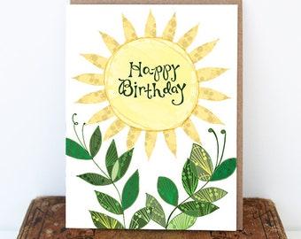 Sun Birthday Card - Sunny Day Card, Sun Card, Sunny Birthday Greeting Card, Paper goods