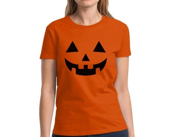 Jack O' Halloween Pumpkin Women's Shirts Tshirts Tees Halloween Funny Easy Costume