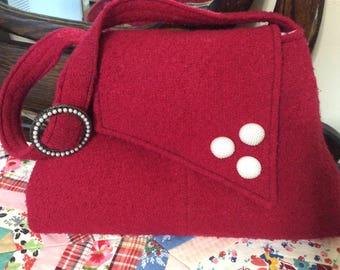 Vintage Style Shoulder Bag - repurposed from vintage wool coat