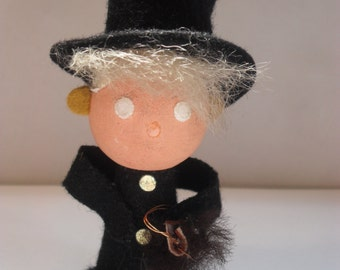 Vintage handmade steampunk small doll-Man in top-hat and long coat