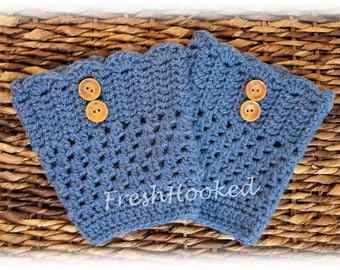 Denim Blue Boot Toppers with Wooden Buttons Boot Cuff Wool