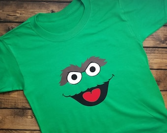 Oscar The Grouch Sesame Street Shirt Addition to Elmo and Cookie Monster Set