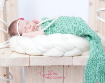 Knit Mermaid Tail Cocoon Photography Prop - Made to Order