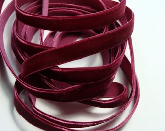 "3/8"" Velvet Ribbon - Wine - 5 yards"