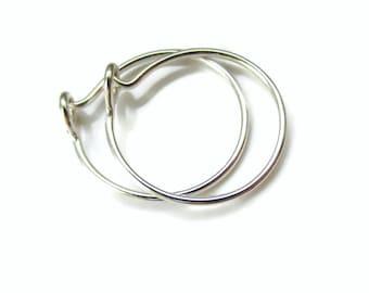 Nickel Free Silver Small Hoop Earrings Half Inch Size, One Pair