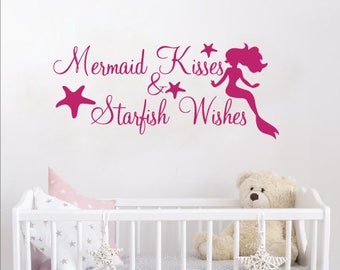 Mermaid Kisses & Starfish Wishes Wall Decal Quote Vinyl Wall Decal Starfish Beach Ocean Wall Decal Girls Nursery Bedroom Decal