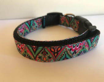 Pink Teal and Black Bohemian Floral Print  5/8 inch Medium Dog Collar