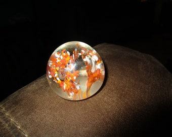Flowers in a Glass Paperweight