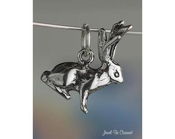 Sterling Silver Jackalope Charm Jackrabbit Rabbit Antlers 3D Solid 925