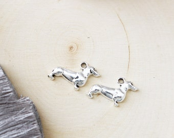 Set of 10, Dog Charms, Dachshund Charm, Pet Lovers, Dog Lovers, Dog Charm, Cute Dog Charm, Small Dog Charm, Silver Dog Charm,