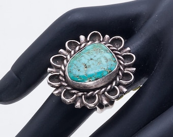 Navajo Pawn Turquoise Ring - 60s Royston Mine & Sterling -  sz 4 1/2 - Best Buy - FREE US Shipping
