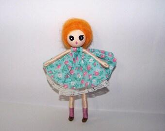 5 inch bendy doll, dollhouse doll, miniature doll, ooak doll, handmade doll, hand-painted doll, hand-sewn doll, spring inspired