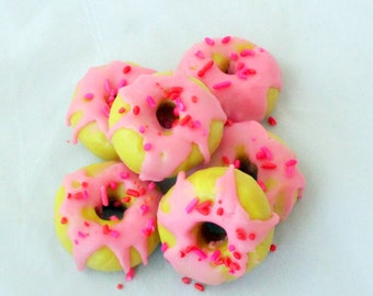 Mini doughnuts, strawberry shortcake donuts, donut wax melts, wax tarts, bakery tart, tart melts, soy melters, bakery candle, novelty candle