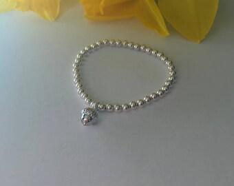 Rose gold acorn sterling silver bracelet