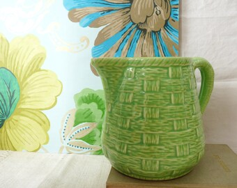 French Vintage Digoin Sarreguemines Green Basketweave Majolica Pitcher, Soft Green 1950s Ceramic Jug, Digoin Carafe, Vase, Country kitchen