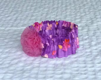 "Purple Watercolor Floral Dog Scrunchie Collar - pink rosette - Size M - 14"" to 16"" neck"