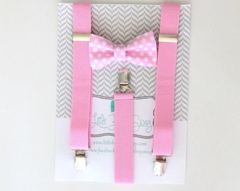 Boys Pink Bow Tie and Suspender, 1st Birthday Boy, Cake Smash Outfit, Ring Bearer Outfit, Boys Suspenders, Wedding Bow Tie, Boys Birthday