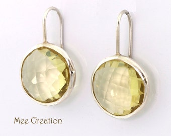 EE1150001) Lemon Quartz, Round Checkerboard cut, 925 Sterling Silver Earrings