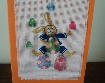 Card embroidered cross stitch Easter, rabbit and eggs