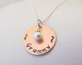 Hand Stamped Personalized Copper Necklace
