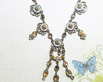 Vintage ART NOUVEAU Gold, Rhinestone and Moonstone - N-185 - 1928 Style Jewelry - Victorian Filigree and Moonstone Necklace