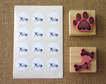 Hunting Dog Stickers One Inch Round Seals
