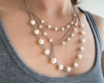 Freshwater Pearl Asymmetrical necklace