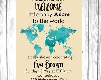 Map baby shower World baby shower Welcome to the world baby shower invite Welcome baby Travel theme baby shower invite Gender neutral invite