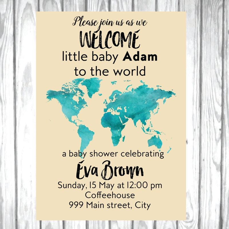 Map baby shower World baby shower Welcome to the world baby