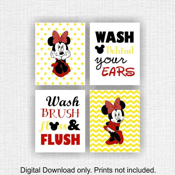 INSTANT DOWNLOAD Minnie Mouse and Quote bathroom Wall decor