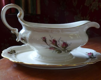 Rosenthal China Gravy Boat with Underplate Moss Rose Pattern