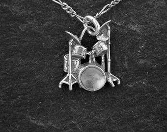Sterling Silver Drum Set Pendant on a Sterling Silver Chain