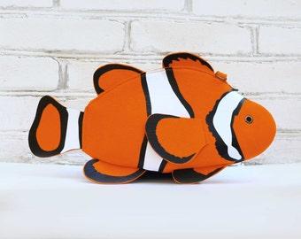 Clown Fish Purse Fish Felt Bag