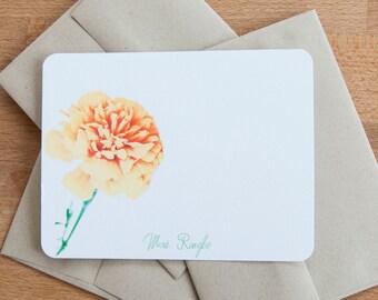 Marigold Stationery Set, Custom Personalized Stationary Gift Set