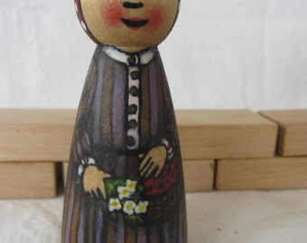 """Peg Doll Girl  -watercolored large size 3.5"""""""