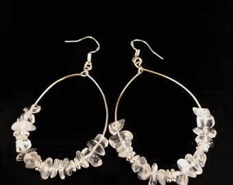 Clear glass beaded silver hoops
