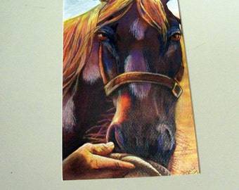 original art drawing horse best friends