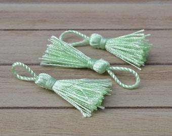 3 Mint green tassels shiny Christmas 5.5 cm