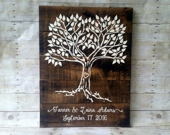 personalized rustic wedding guest book alternative wood, custom wedding guestbook sign, tree of life guest book, bridal shower gift, best