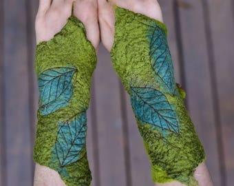 Nuno Felted Fairy Cuffs-Fairy Gloves-Pixie Arm Warmers-Felt Cuffs-Woodland Costume-Silk Gloves-Festival Wear-Felt Leaf Cuff-Pixie Wear OOAK