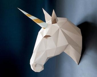 Unicorn, wall decor, DIY KIT, 3d papercraft, Nursery wall art, DIY Papercraft, 3D wall art, Unicorn party, Trophy, Unicorn birthday, Magic