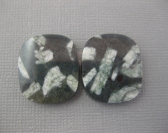 Chinese Writing Stone Cabochon Matched pair