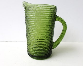 Mid Century Barware - Soreno Anchor Hocking Pitcher Set - Avocado Green Soreno - Mid Century Modern Vintage Pitcher - Green Glass Pitcher