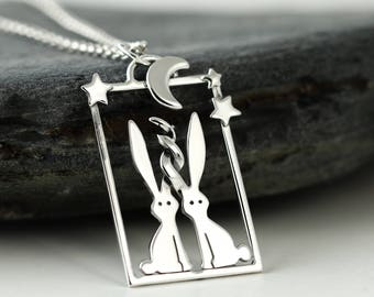Sterling Silver Rabbit Necklace - Star Gazing Rabbit Jewellery