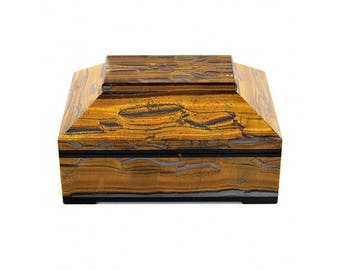 Jewelry casket of tiger eye and dolerite  120*80*60 mm