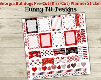 Erin Condren Planner Georgia Bulldogs Football Precut Kisscut Peel and Stick Stickers Flags Rectangle Boxes Labels Red and Black