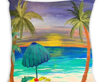 At the beach double sided art throw or body pillow case from my art